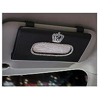 LuckySHD 汽车太阳遮阳纸巾盒 带水晶皇冠 黑色 均码 Car-0877