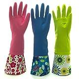 可重复使用的防水家用橡胶乳胶清洁手套,厨房手套 - 3 件装 Pink, Blue, Yellow L