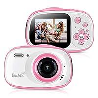 Bable 儿童相机礼物女孩,8.0MP 儿童防水摄像机,6 X 变焦儿童数码相机带 2.0 英寸 IPS 屏幕,水下摄像机摄像机摄像机送给孩子的*好礼物包括 16GB Micro SD 卡