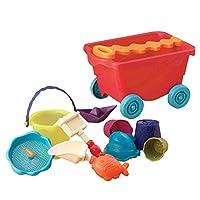 B.Toys 比乐 户外沙滩仿真玩具车大号玩沙玩具 浴室玩具组合 沙滩装卸车玩具套装-番茄红  婴幼儿童益智玩具 礼物  18个月+ BX1375Z