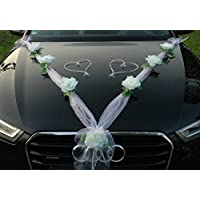 ORGANZA M + HERZEN Auto-Schmuck 新婚夫妇玫瑰装饰 汽车装饰 婚车 婚车装饰 轿车藤条花环 Weiß / Weiß / Weiß