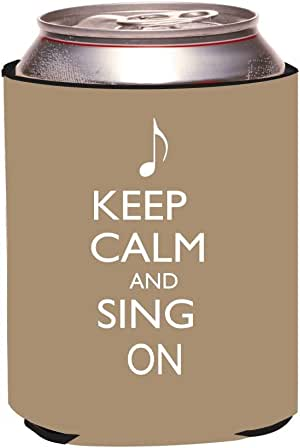 """Rikki Knight""""Keep Calm and Sing on Brown Color Design"""" Beer Can Soda Drinks Cooler Koozie"""