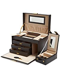 Wolf Designs 280002 Heritage 黑色大号首饰盒,带三个抽屉首饰盒