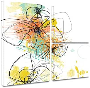 "ArtWall 3 Piece ""Jan Weiss's Orange Botanica"" Gallery Wrapped Canvas Artwork, 36"" x 48"""