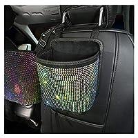 Syibb 汽车储物袋 带闪亮钻石 前排或后排收纳袋 垃圾袋 悬挂容器