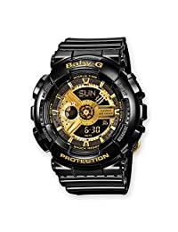 Casio 卡西歐 Baby-G 女士腕表時尚潮流防水電子手表 BA-110-1AER 黑色/金色