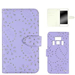 ホワイトナッツ ラメフラワー ケース 手帳型 紫色 21_ REGZA PHONE T-01D