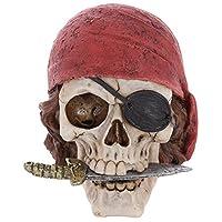 Subitodisponibile Statua Statuina Teschio da Pirata Con Coltello tra i Denti