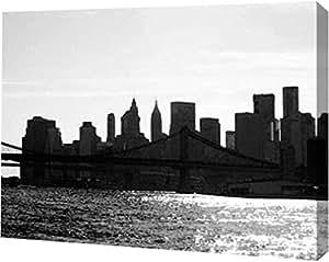 """PrintArt GW-POD-23-JPI-RC-042B-20x15""""NYC Silhoutte"""" 由 Jeff Pica 创作画廊装裱艺术微喷油画艺术印刷品 12"""" x 9"""" GW-POD-23-JPI-RC-042B-12x9"""