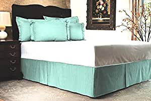 KP Linen New Brand Home Offer 850 Thread Count 100% Egyptian Cotton Queen Size 1pc Split Corner Bed Skirt With 13 Inch Drop Length, Light Blue Striped
