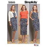 Simplicity US8849H5 图案 S8849 少女连衣裙,裙子,上衣和夹克,H5 (6-8-10-12-14)