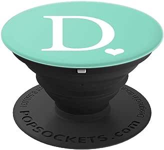 白色首字母字母 D 心形交织字母 Pastel 薄荷绿 - PopSockets 手机和平板电脑*手柄和支架260027  黑色