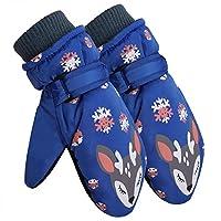 儿童滑雪手套 男孩冬季新雪丽保暖防水滑雪手套 保暖羊毛衬里 3-12 岁