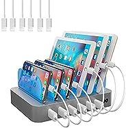 Hercules Tuff 充电站 适用于多种设备 - 6 个 USB 快速端口 - 包括短电缆 Silver - 6 Apple Cables