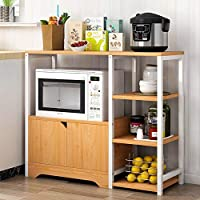 多功能储物放置架微波炉架子烤箱电器收纳架欧式客厅餐边柜储物架碗柜 (双层加宽古橡木色)