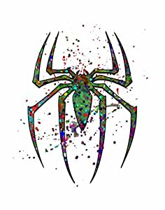 "'SPIDEY-EMBLEM' ~ *英雄启发抽象喷雾艺术印画。 紫色 8""×10"" print"