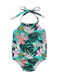 Mini honey Clearance 婴幼儿女婴连体泳衣菠萝印花露背吊带泳衣 海滩