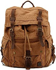 drf 帆布背包男式背包钱包复古适用于旅行14.1英寸笔记本电脑 bg-09 卡其色 X大码