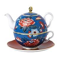 Paeonia 腮红蓝色和红色茶杯