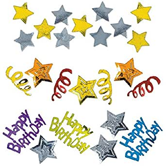 Amscan Mens Happy Birthday Stars Confetti 多色 1.2 oz.