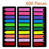 霓虹色页标记粘性索引标签 600 件,箭头旗帜标签贴标页标记和突出显示 [3 种设计,10 种颜色] 可写,可重贴,耐用