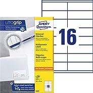 Avery Zweckform 3423 通用标签(A4 纸 哑光纸 1,600 标签,105 x 35 毫米)100 张白色