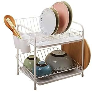 欧润哲 碗碟架 双层厨房餐具收纳架 白色