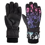 儿童防水滑雪单板滑雪冬天冬季手套5-finger 带时尚印花3M Thinsulate 男孩女孩青年