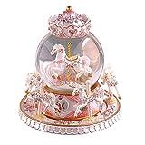 SUPOW 旋转音乐盒,奢华 6 马旋转木马水晶球宝石旋转木马玻璃球玩偶,天空调,带有城堡,6.35.9 英寸,送给小女孩的*礼物 白色