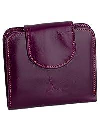 YALUXE 女式 RFID 屏蔽*皮革紧凑小隔层口袋钱包