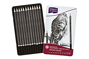 Derwent 得韵 Academy学院系列 Sketching Pencils绘图铅笔素描铅笔 12支铁盒装(2301946F)