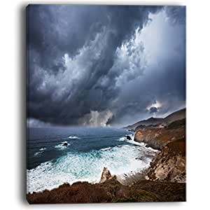 """设计艺术 夜晚 暴风 现代海滩 帆布艺术印刷品 蓝色 12x20"""" PT10422-12-20"""