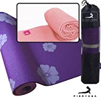 PIERYOGA 皮尔瑜伽  瑜伽 PVC花色瑜伽垫(紫花)+瑜伽铺巾(粉) 赠背包