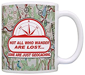 Geocaching Accessories Not All Who Wander are Lost Gag Gift 咖啡杯茶杯 Map 11 盎司
