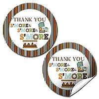 AmandaCreative S'mores 生日聚会 Thank You 贴纸,101.6 cm 派对圆贴纸,派对喜爱,信封封和精美袋
