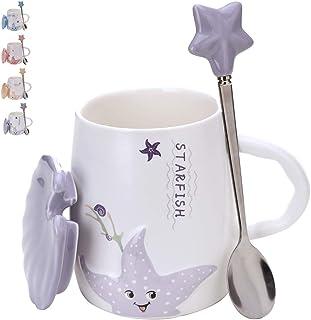 可爱的陶瓷咖啡马克杯 - 美丽的 414.03 毫升茶杯套装带配套的盖子和勺子 - 大陶瓷饮水杯 - 可用洗碗机清洗和微波加热新奇杯 - 完美的生日礼物 紫色