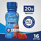 Ensure Enlive Advanced Nutrition Shake with 20 grams of High-Quality protein, Meal Replacement Shakes, Strawberry, 8 fl oz, 16 count