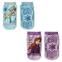 Tavi Noir 儿童小底冰雪奇缘袜子 2 件装,中号,蓝色和紫色