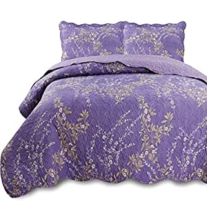 "KASENTEX Quilt-Bedding - 枕套套装,预洗彩色超细纤维面料设计带枕套 紫色 SINGLE 68X86""+20X26""X1 KTR9008"