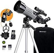 Celestron - 70mm 旅行范围 DX - 便携式折射器望远镜 - 全涂层玻璃光学 - 初学者理想伸缩器 - 赠送天文软件包 - 数字化智能手机适配器