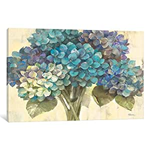 iCanvasART WAC62 Turquoise Hydrangea Canvas Print by Albena Hristova, 12 by 8-Inch, 0.75-Inch Deep