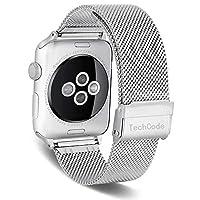 智能手表表带,TechCode 不锈钢网表带,运动腕带环替换带可调节磁扣,适用于 iWatch 系列 1/2/3/4 兼容苹果手表表带