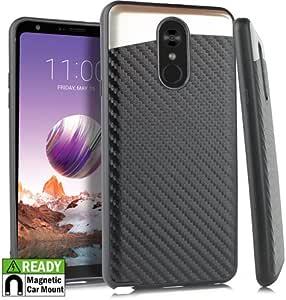 LG Stylo 4 手机壳 - TRSUSA 双层混合手机壳带拉丝设计防震保护套适用于Stylo 4 BLACK CARBON FIBER