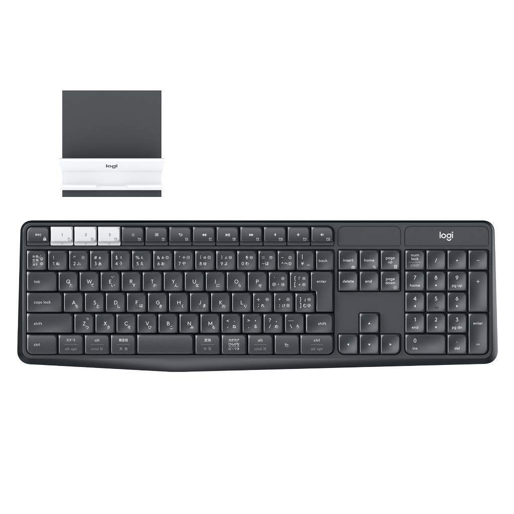 外部コンピュータ/スマートフォン用ロジクールロジクールK370sサポート(スタンド付き)Bluetoothワイヤレスキーボードを備えたデバイスの/タブレット多様