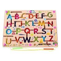 O-Toys 儿童迷宫木质拼图活动磁铁玩具串珠棋盘游戏套装,男孩女孩学习教育玩具,带磁棒,适合幼儿学龄前儿童 均码 Abc 字母
