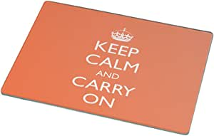 Rikki Knight RK-LGCB-1226 Keep Calm and Carry on Glass Cutting Board, Large, Orange