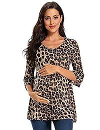 Love2Mi 女式条纹孕妇上衣七分袖衬衫休闲超柔软孕妇衬衫  Floral101 Medium
