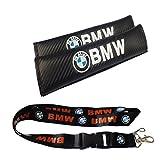 新款 1 件宝马钥匙扣挂绳徽章夹 + 2 件套 BMW 刺绣*带肩垫套垫