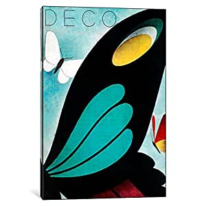 iCanvasART VAC82-1PC6-18x12 Deco Butterfly Canvas Print by Vintage Apple Collection, 18 by 12-Inch, 1.5-Inch Deep