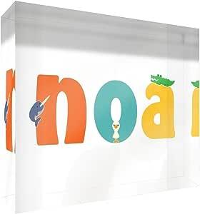 Little Helper 纪念品装饰抛光透明亚克力钻石风格示例,带男孩 Noa 姓名 7.4 x 10.5 x 2 厘米 小号多色